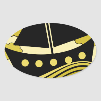 Boat - yellow oval sticker