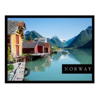 Boathouses and a fjord in Norway black frame card Postcard
