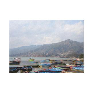 Boating at Pokhara Canvas Print