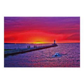 Boating at Sunrise Poster
