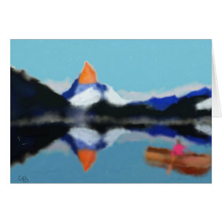 Boating by Mountains Art Card