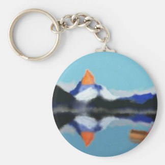 Boating by Mountains Art Keychain