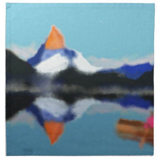 Boating by Mountains Art Napkin