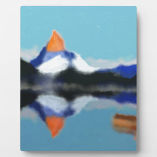 Boating by Mountains Art Plaque