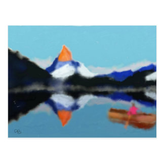 Boating by Mountains Art Postcard