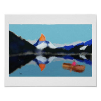 Boating by Mountains Art Poster