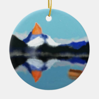 Boating by Mountains Art Round Ceramic Ornament