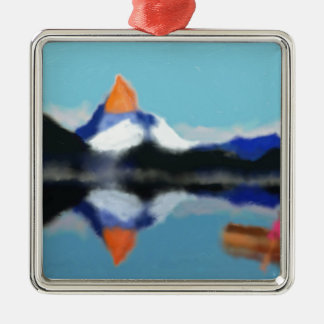 Boating by Mountains Art Silver-Colored Square Ornament