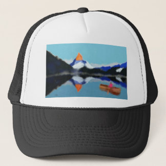 Boating by Mountains Art Trucker Hat