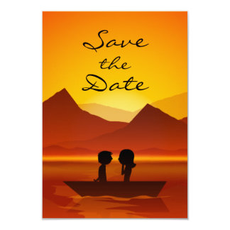 "Boating Couple Mountain Wedding Save the Date 3.5"" X 5"" Invitation Card"