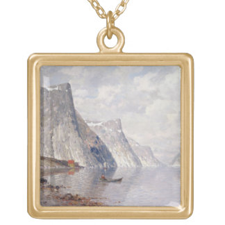 Boating on a Norwegian Fjord (oil on canvas) Gold Plated Necklace
