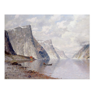 Boating on a Norwegian Fjord (oil on canvas) Postcard