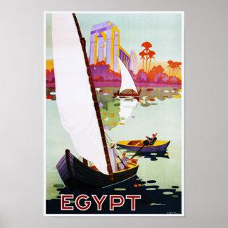 Boating on Nile Egypt Vintage Travel Poster