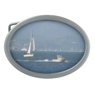 Boating on the bay oval belt buckle