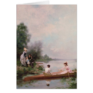 Boating on the River, 19th century Card
