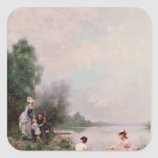 Boating on the River, 19th century Square Sticker