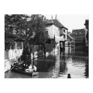 Boating on the river Gera at Erfurt Postcard