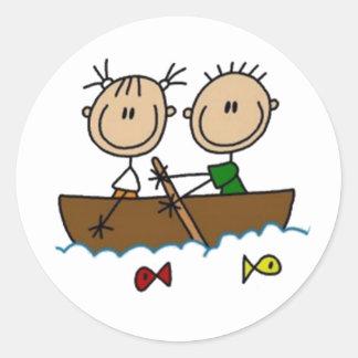 Boating Stick Figures Classic Round Sticker