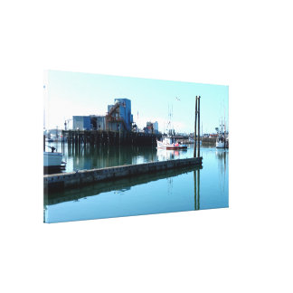 Boats and Harbor Stretched Canvas Print