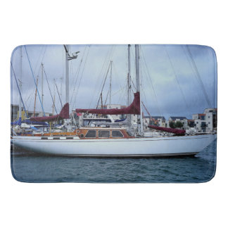 Boats and Ship Docked at a Harbor Bath Mat