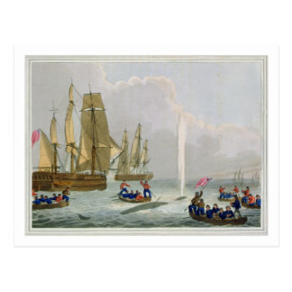 Boats Approaching a Whale, engraved by Matthew Dub Postcard