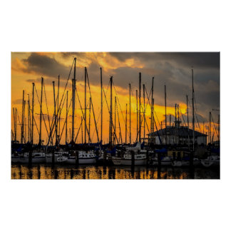 Boats At Dusk On Water Print