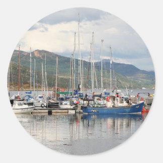 Boats at Kyleakin, Isle of Skye, Scotland Classic Round Sticker