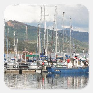 Boats at Kyleakin, Isle of Skye, Scotland Square Sticker