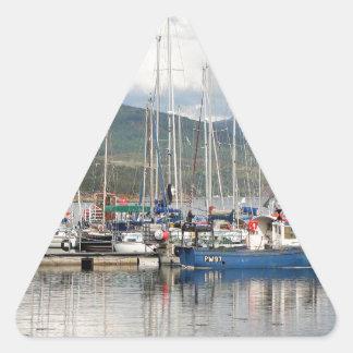 Boats at Kyleakin, Isle of Skye, Scotland Triangle Sticker