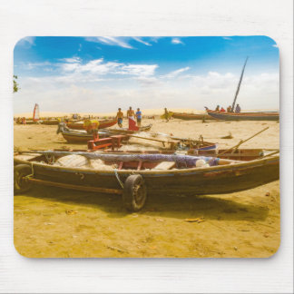 Boats at Sand at Beach of Jericoacoara Brazil Mouse Pad