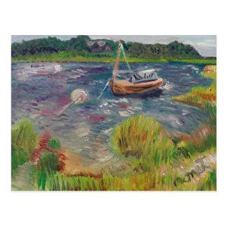 Boats at the Springs East Hampton Postcard