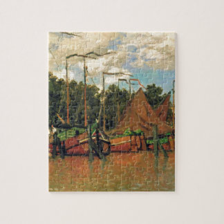 Boats at Zaandam by Claude Monet Jigsaw Puzzle