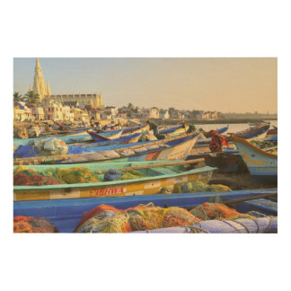 Boats being readied for fishing, The Church of Wood Print