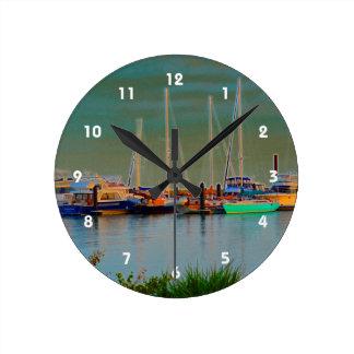 boats by dock surreal coloring florida wall clock