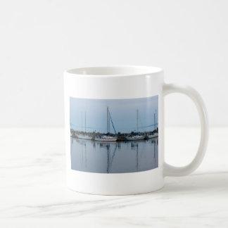 boats by the beach classic white coffee mug
