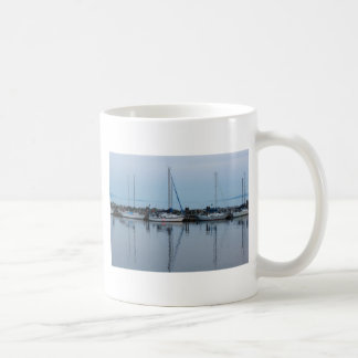 boats by the beach coffee mug