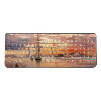 Boats Clipper Ship Ocean Sunset Wireless Keyboard