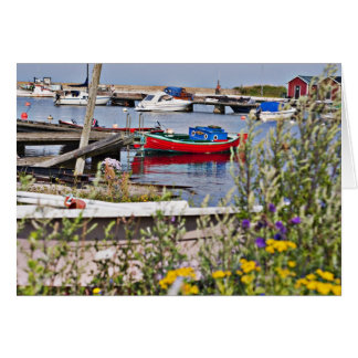 Boats docked in small harbor card