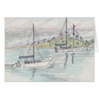 """Boats/Fiji"" Watercolor Sketch Greeting Card"