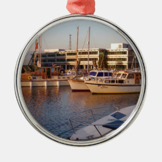 Boats In A Marina Metal Ornament