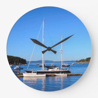 Boats in Bar Harbor Maine by Julie Everhart Wall Clocks