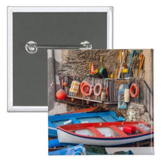 Boats in Cinque Terre Italy 2 Inch Square Button