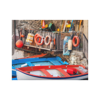 Boats in Cinque Terre Italy Canvas Print