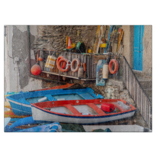 Boats in Cinque Terre Italy Cutting Board