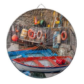 Boats in Cinque Terre Italy Dartboard