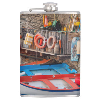 Boats in Cinque Terre Italy Hip Flask