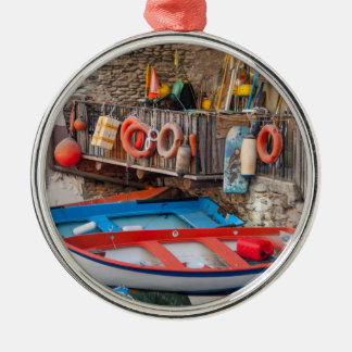 Boats in Cinque Terre Italy Metal Ornament