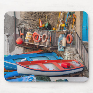 Boats in Cinque Terre Italy Mouse Pad
