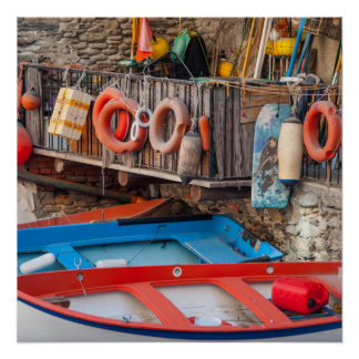 Boats in Cinque Terre Italy Poster