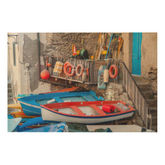 Boats in Cinque Terre Italy Wood Print
